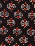 Black Maroon Blue Beige Ajrakh Hand Block Printed Cotton Fabric Per Meter - F003F1776