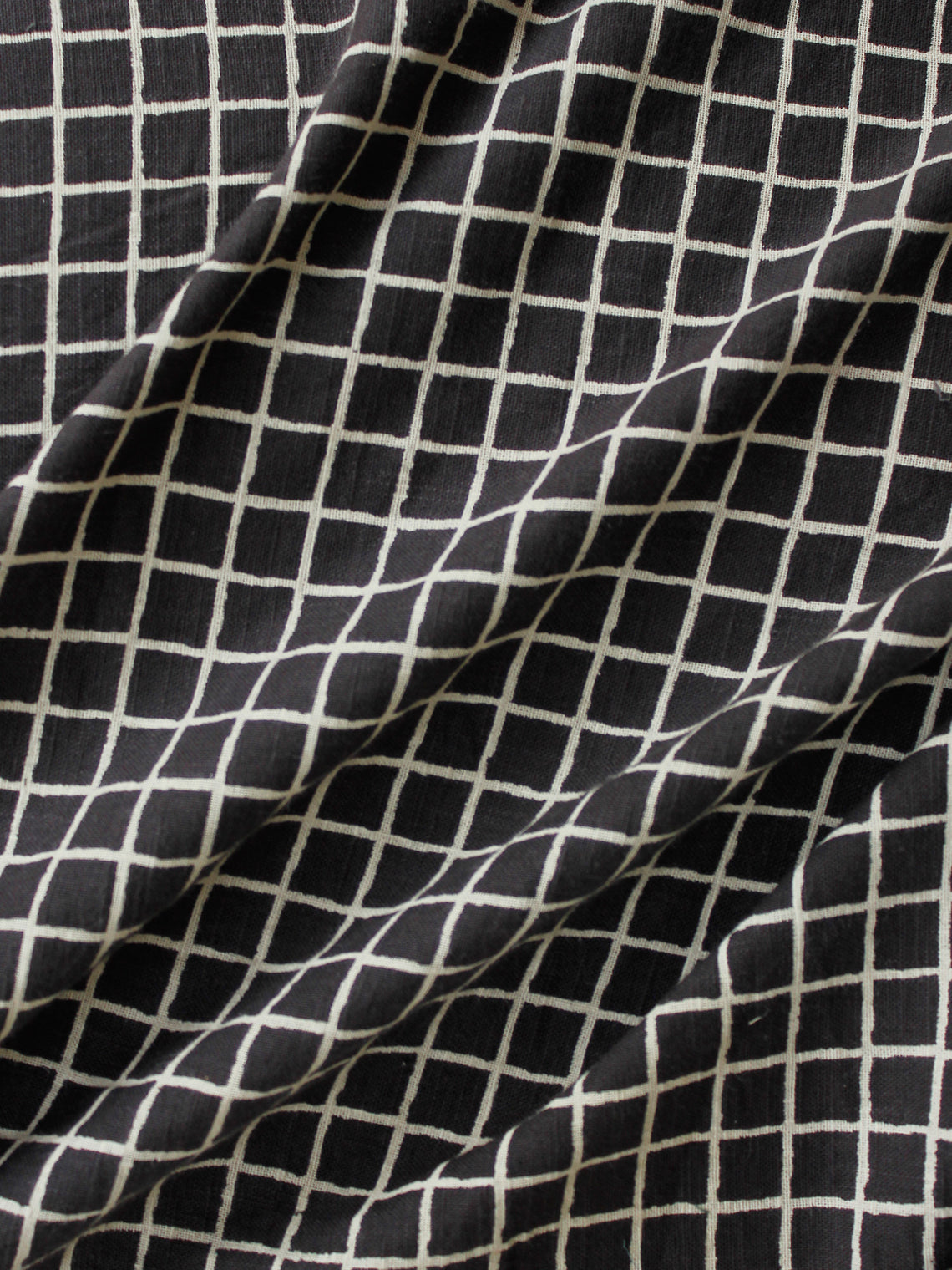 Black Ivory Hand Block Printed Cotton Fabric Per Meter - F001F1866