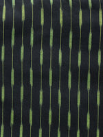 Black Green Pochampally Hand Woven Ikat Cotton Fabric Per Meter - F002F1445