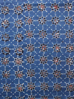 Indigo Black Red Ivory Ajrakh Hand Block Printed Cotton Fabric Per Meter - F003F1617