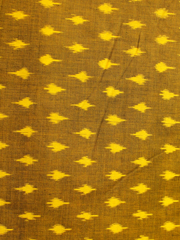 Mustard Yellow Pochampally Hand Weaved Ikat Mercerised Cotton Fabric Per Meter - F002F1987