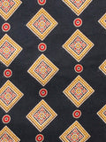 Black Peanut Brown Red Ajrakh Hand Block Printed Rayon Fabric Per Meter - F003F1546