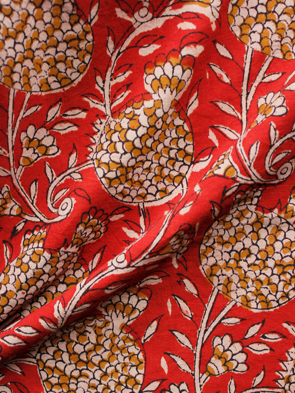 Red Beige Mustard Black Hand Block Printed Cotton Fabric Per Meter - F001F1374