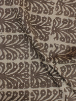 Beige Color Hand Block Printed Cotton Cambric Fabric Per Meter - F0916123