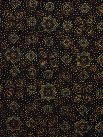 Black Brown Yellow Green Ajrakh Hand Block Printed Cotton Blouse Fabric - BPA045