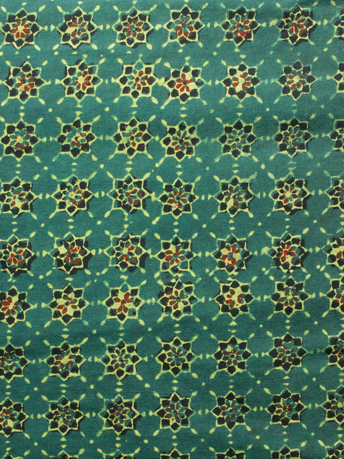 Green Mustard Black Red Ajrakh Hand Block Printed Cotton Fabric Per Meter - F003F1620