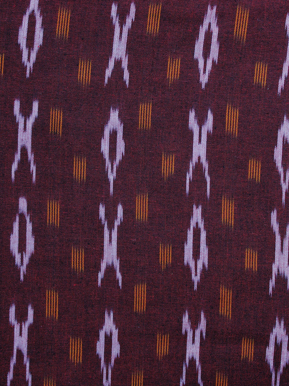 Maroon Yellow Pochampally Hand Weaved Ikat Fabric Per Meter - F003F1258
