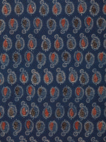 Indigo Black Rust Beige Ajrakh Hand Block Printed Cotton Fabric Per Meter - F003F1778