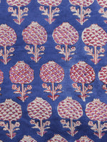 Blue Purple Red Hand Printed Cotton Fabric Per Meter - F001F1091
