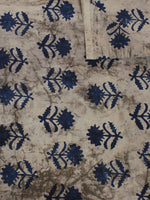 Beige Blue Hand Block Printed Cotton Cambric Fabric Per Meter - F0916122