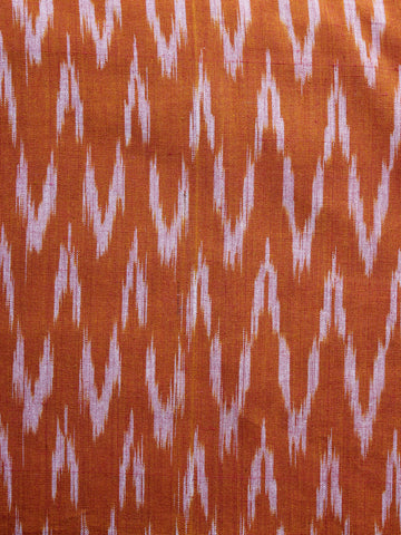 Orange White Pochampally Hand Weaved Ikat Fabric Per Meter - F003F1255