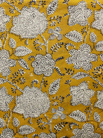 Mustard Black Ivory Hand Block Printed Cotton Fabric Per Meter - F001F1376