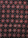 Black Maroon Blue Ivory Ajrakh Hand Block Printed Cotton Fabric Per Meter - F003F1619
