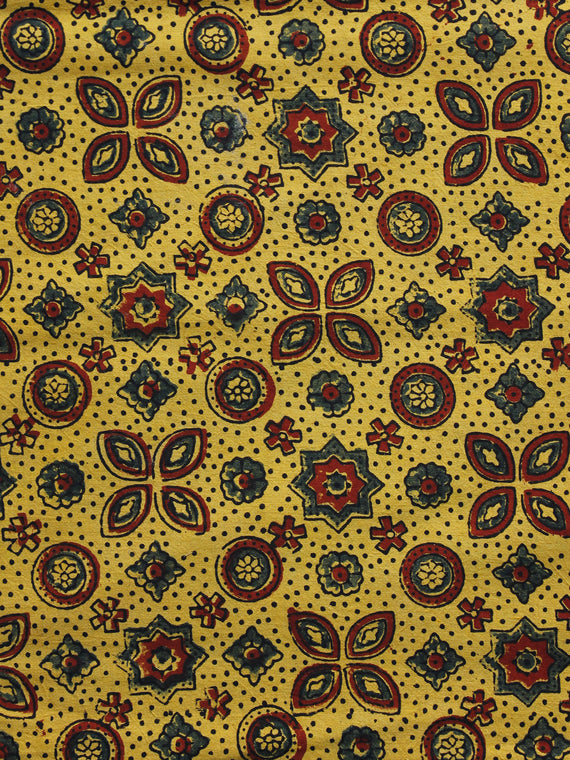 Yellow Maroon Green Ajrakh Hand Block Printed Cotton Blouse Fabric - BPA046