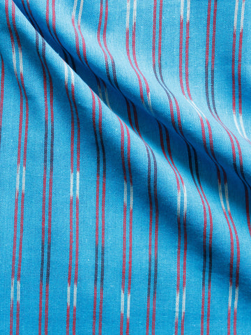 Blue Maroon Black White Hand Woven Ikat Handloom Cotton Fabric Per Meter - F002F1447
