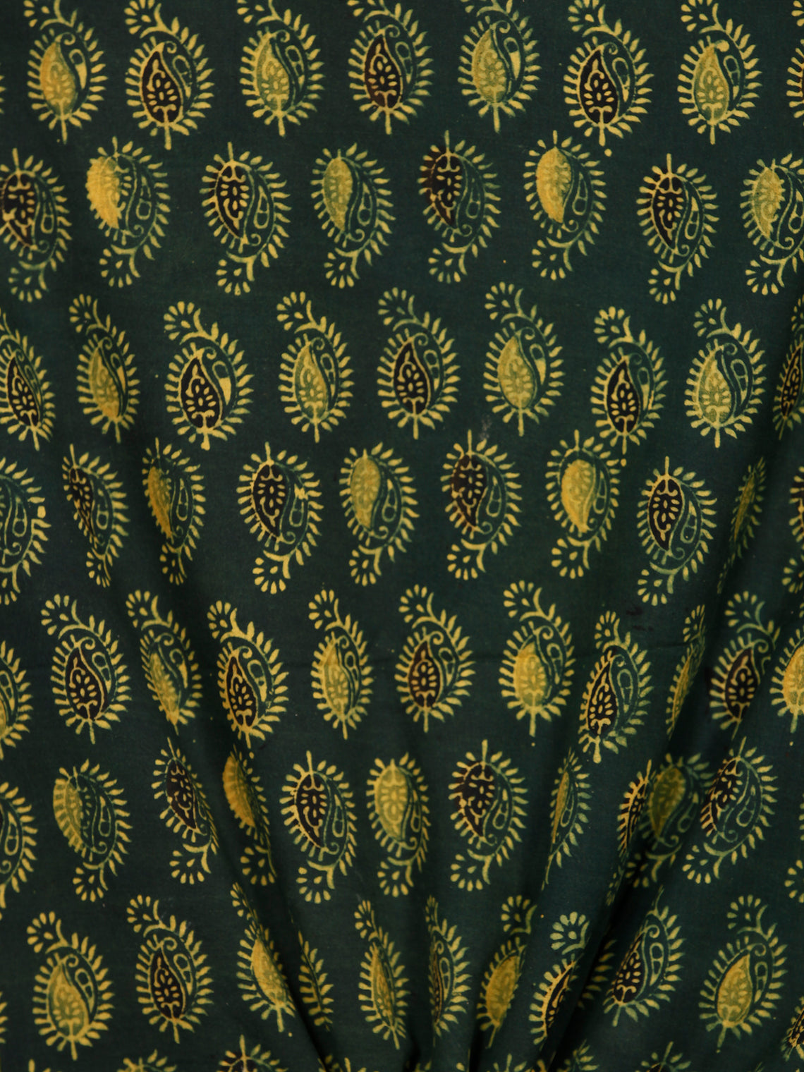 Green Lime Black Ajrakh Hand Block Printed Cotton Fabric Per Meter - F003F1779