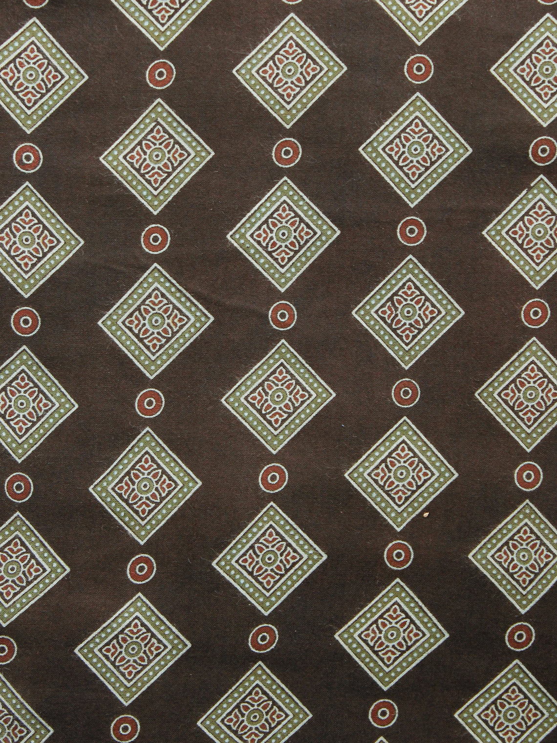 Brown Sage Green Roosewood Ajrakh Hand Block Printed Rayon Fabric Per Meter - F003F1549
