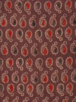 Brown Black Red Beige Ajrakh Hand Block Printed Cotton Fabric Per Meter - F003F1780