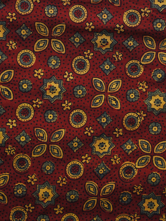 Maroon Yellow Green Ajrakh Hand Block Printed Cotton Blouse Fabric - BPA047