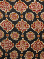 Black Red Peanut Brown Ivory Ajrakh Hand Block Printed Rayon Fabric Per Meter - F003F1551