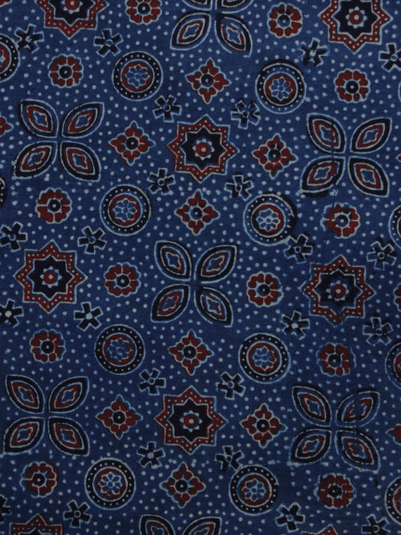 Indigo Ivory Black Rust Ajrakh Hand Block Printed Cotton Blouse Fabric - BPA049