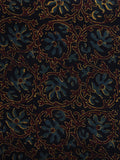 Black Blue Brown Ajrakh Hand Block Printed Cotton Blouse Fabric - BPA005