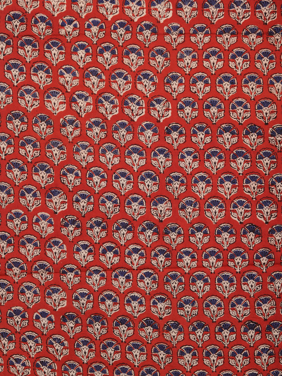 Red Indigo Beige Hand Block Printed Cotton Fabric Per Meter - F001F1739