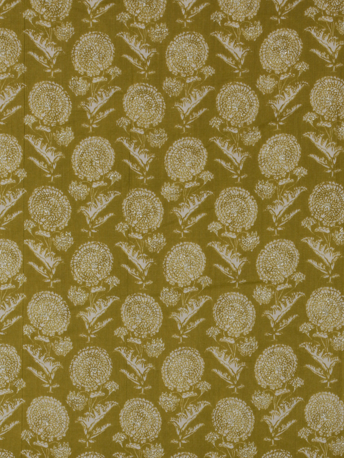 Olive Green OffWhite silver Block Printed Cotton Fabric Per Meter - F001F2395
