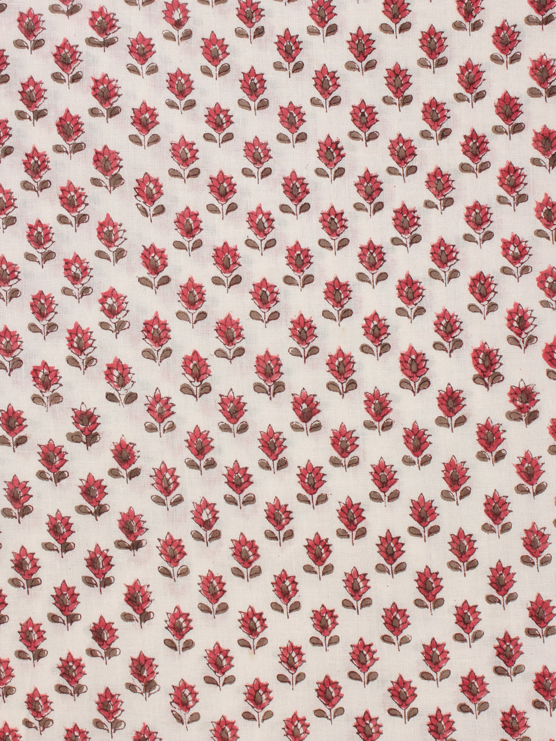 White Red Pink Hand Block Printed Cotton Fabric Per Meter - F001F2349