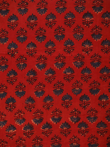 Red Black Blue Ajrakh Hand Block Printed Cotton Fabric Per Meter - F003F1783