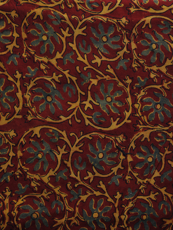 Maroon Rust Orange Green Ajrakh Hand Block Printed Cotton Blouse Fabric - BPA050