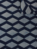 Indigo White Hand Block Printed Cotton  cambric Fabric Per Meter - F0916011