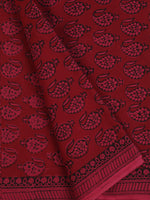 Crimson Red Pink Black Bagh Printed Cotton Fabric Per Meter - F005F2101
