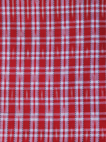 Red White Pochampally Hand Weaved Ikat Fabric Per Meter - F003F1264