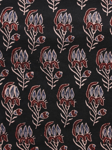 Black Brown Ivory Ajrakh Hand Block Printed Cotton Blouse Fabric - BPA075
