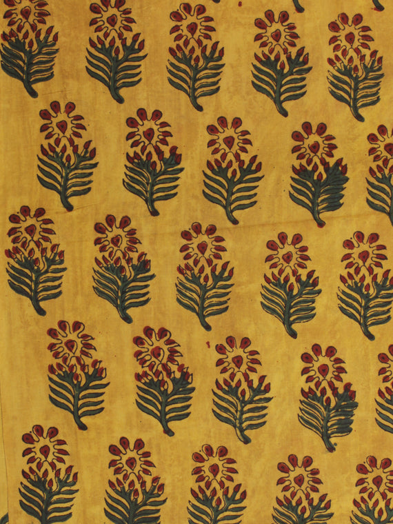 Mustard Red Green Ajrakh Hand Block Printed Cotton Fabric Per Meter - F003F2103