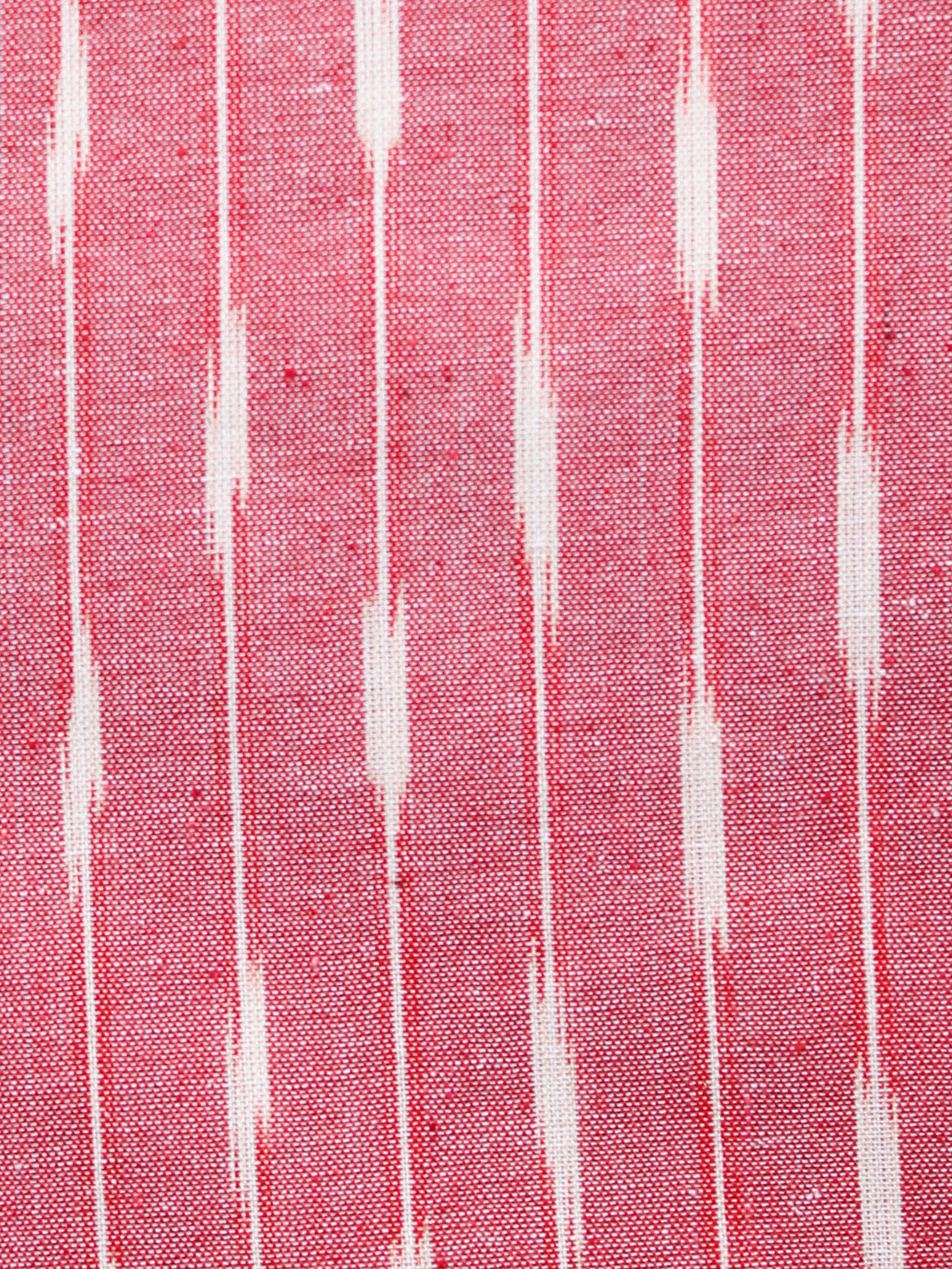 Coral Ivory Pochampally Hand Woven Ikat Cotton Fabric Per Meter - F002F1453