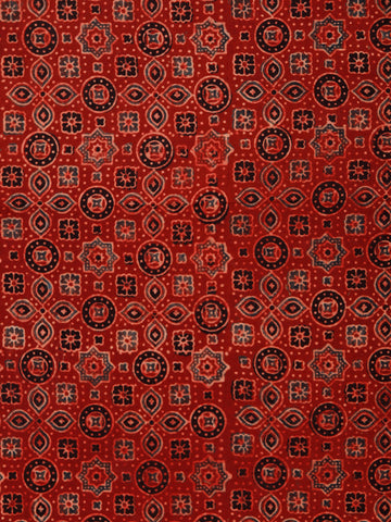 Red Black Maroon Blue Ajrakh Hand Block Printed Cotton Fabric Per Meter - F003F1786
