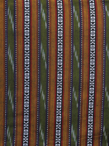 Olive Green Orange White Black Pochampally Hand Weaved Ikat Fabric Per Meter - F003F1266