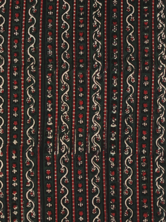 Bottle Green Red Ivory Ajrakh Hand Block Printed Cotton Fabric Per Meter - F003F2104