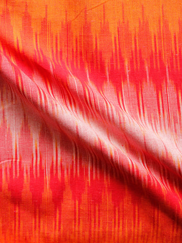 Red Orange White Hand Woven Ikat Handloom Cotton Fabric Per Meter - F002F1454