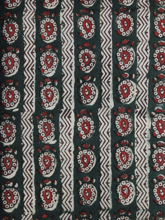 Bottle Green Red Ivory Ajrakh Hand Block Printed Cotton Fabric Per Meter - F003F2105