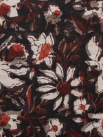 Black Brown Ivory Hand Block Printed Cotton Fabric Per Meter - F001F1384