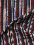 Black Maroon Blue Beige Ajrakh Hand Block Printed Cotton Blouse Fabric - BPA077