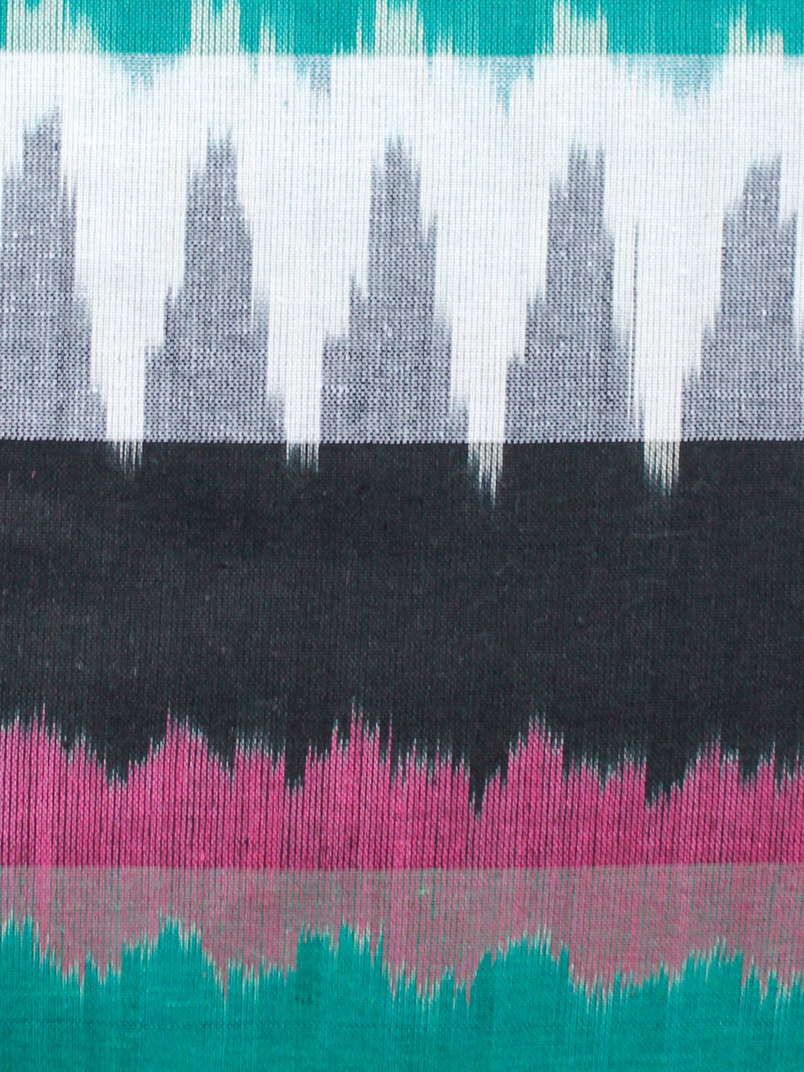 Black Green White Lavender Pochampally Hand Woven Ikat Cotton Fabric Per Meter - F002F1456