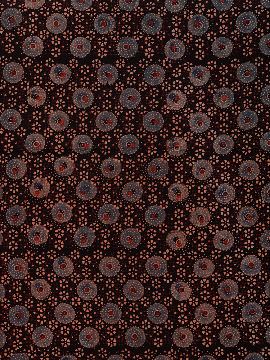 Black Indigo Beige Rust Ajrakh Hand Block Printed Cotton Fabric Per Meter - F003F1789