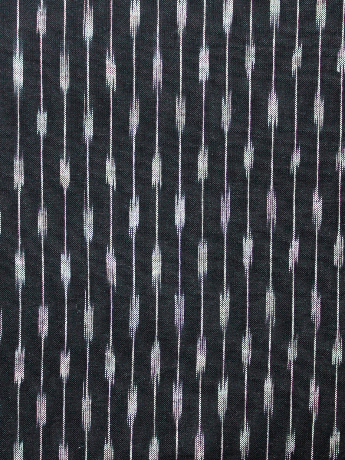 Black Grey Hand Woven Ikat Handloom Cotton Fabric Per Meter - F002F1457