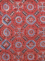 Rust Black Blue Ivory Ajrakh Hand Block Printed Cotton Fabric Per Meter - F003F1630