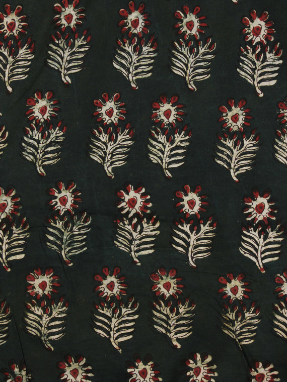 Bottle Green Ivory Red  Ajrakh Hand Block Printed Cotton Fabric Per Meter - F003F2108