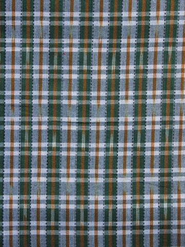 Green Rust White Pochampally Hand Weaved Ikat Fabric Per Meter - F003F1268